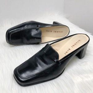 "GIANNI BINI Black Leather Mules Size 8.5 ""Collins"""